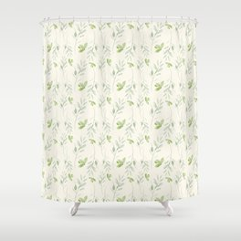 Hand painted watercolor pastel green ivory leaves floral Shower Curtain