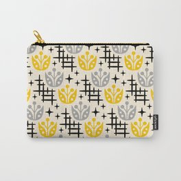 Mid Century Modern Space Flower Pattern Gray and Yellow Carry-All Pouch