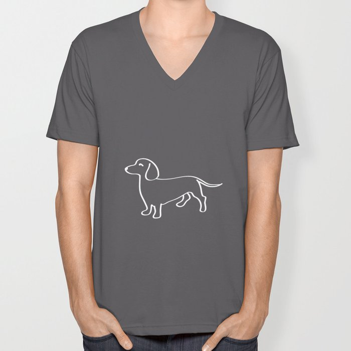 Doxie Love White Unisex V-Neck