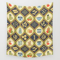 pasta Wall Tapestries featuring Pasta Fun Pattern by Noonday Design