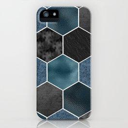 Midnight marble hexagons iPhone Case
