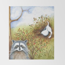 Silly Dog  Jack Russell Terrier, Raccoon, Landscape Painting, Original Art Throw Blanket