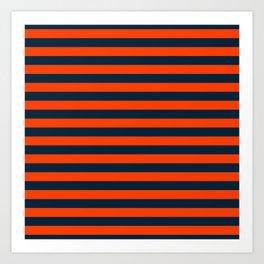 Orange Pop & Navy Blue Tent Stripe Art Print