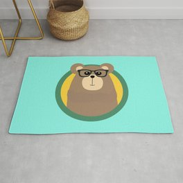 Nerd Brown Bear with cirlce Rug
