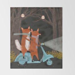 the fox mobile Throw Blanket