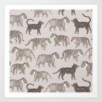 Gray Tigers Art Print