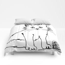 Katzen 012 / Cute Kitten Minimal Line Drawing Comforters
