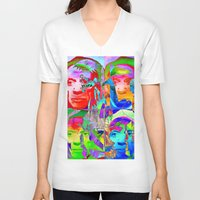 picasso V-neck T-shirts featuring Pop Picasso by Joe Ganech