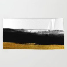 Black and Gold grunge stripes on clear white backround - Stripe- Striped Beach Towel