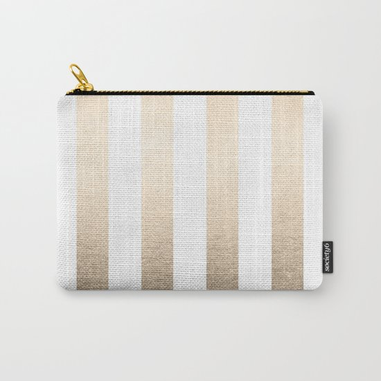 Simply Vertical Stripes in White Gold Sands Carry-All Pouch