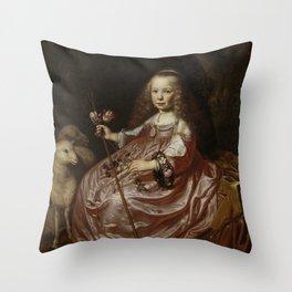 Dirck van Santvoort- Portrait of Clara Alewijn Throw Pillow