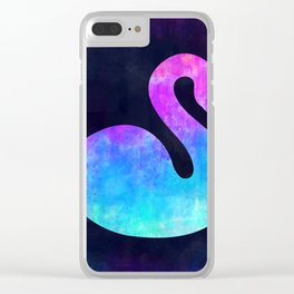 SWAN IN SPACE // Animal Graphic Art // Watercolor Canvas Painting // Modern Minimal Cute Clear iPhone Case