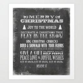 Christmas Chalk Board Typography Text Art Print