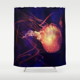 Jellyfish of the Blacklight Electro Rave Shower Curtain
