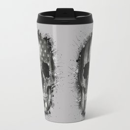usa black and white skull Travel Mug