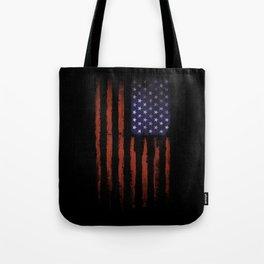 Grunge American flag on black Tote Bag