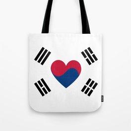 South Korean Heart Flag Tote Bag