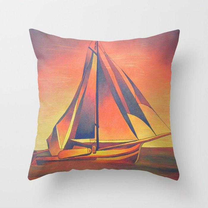 Sienna Sails at Sunset Throw Pillow