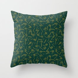 Gold and Dark Green Christmas Branches Throw Pillow