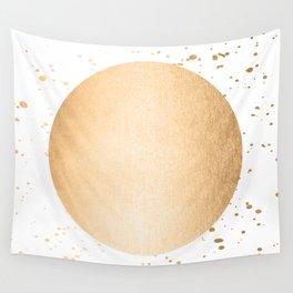 Sun Paint Spatter in Orange Sherbet Shimmer Wall Tapestry