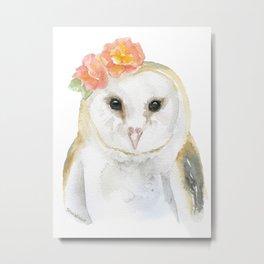 Barn Owl Floral Watercolor Metal Print