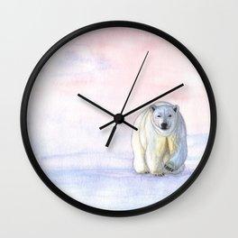 Polar bear in the icy dawn Wall Clock