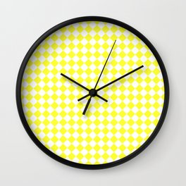 White and Electric Yellow Diamonds Wall Clock