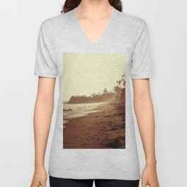Vintage Retro Sepia Toned Coastal Beach Print Unisex V-Neck