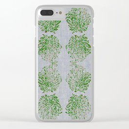 Green and Pink Paisley flowers Clear iPhone Case
