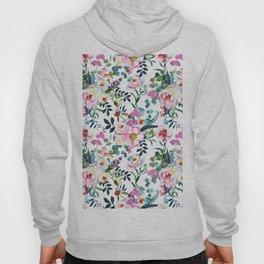 Modern pink lilac yellow watercolor bohemian floral Hoody