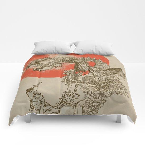 Junkyard Dragon (monochrome version) Comforters