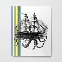 Kraken Attacking ship on Colorful Stripes Metal Print