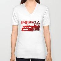 subaru V-neck T-shirts featuring Subaru Impreza 2006 - classic red - by Vehicle