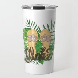 Aloha Hand Painting Palm Leaves Hand Drawn Travel Mug
