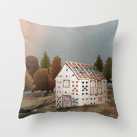 fitzgerald Throw Pillows featuring Forget about your house of cards by Emma Fitzgerald