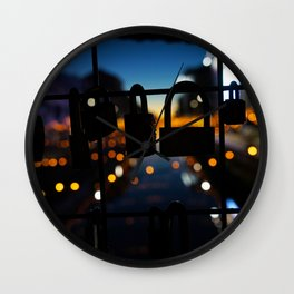Bridge of locks in Milano by Night Photography Wall Clock
