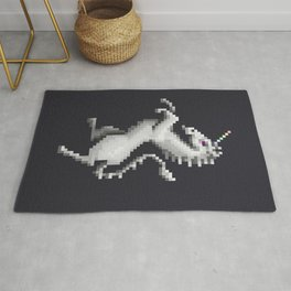 Pixel White Unicorn Rug