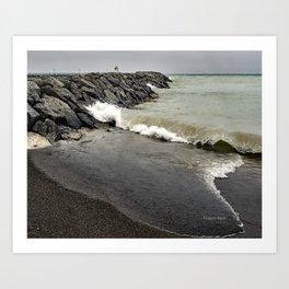Huron Wave on Breakwall Art Print