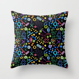 Abstract 'I see faces' black background print Throw Pillow