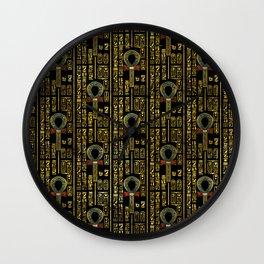 Ankh  and Egyptian hieroglyphs pattern Wall Clock