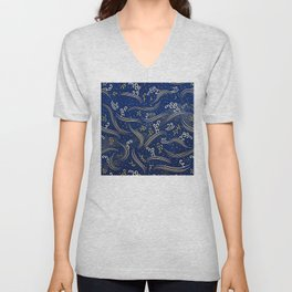 Vintage Japanese Papers: Chic Avant-Garde Line Pattern Unisex V-Neck