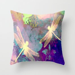 Painting Dragonflies and Orchids A Throw Pillow