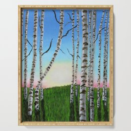 Birch Trees at Sunset Serving Tray