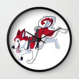 Red Husky Running Wall Clock