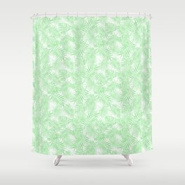 Pale Pastel Green Monstera Palm Leaves Shower Curtain