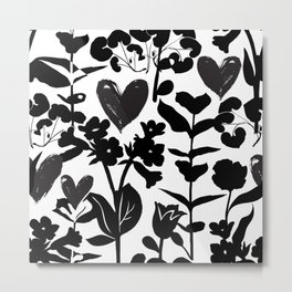 Big bold black flowers and hearts on white Metal Print