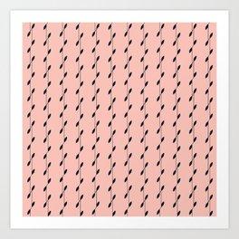 Linear Leaves Pink&Black Art Print