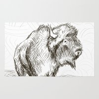 bison Area & Throw Rugs featuring Bison by Tim Kleyn