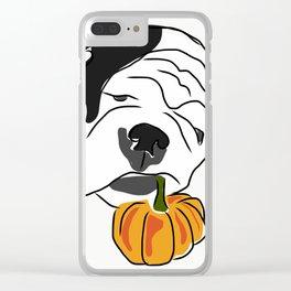 Happy Fall Bulldog Clear iPhone Case