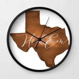 Texas Longhorn Hook Em Watercolor Wall Clock